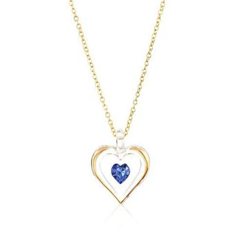 Glass Baron 'September' Birthstone Gold Trim Heart Necklace