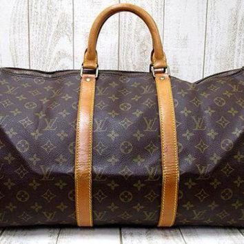 VLX9RV Vintage Louis Vuitton monogram travel keepall 50 duffle bag. Bandouliere purse. Great