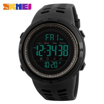 SKMEI Chronograph Sports Watches Men Double Time Countdown LED Digital Watch Military Waterproof Wristwatch Alarm Clock 1251