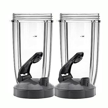 QueenTrade 2Set Replacement 24OZ Tall Cup with Flip Top to Go Lids For Nutribullet 600w & Nutribullet Pro 900w Blender (Not For Magic Bullet or Ninja blenders)