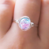 Silver Cotton Candy Ring - unique rings - galaxy ring - pink and blue - opal ring