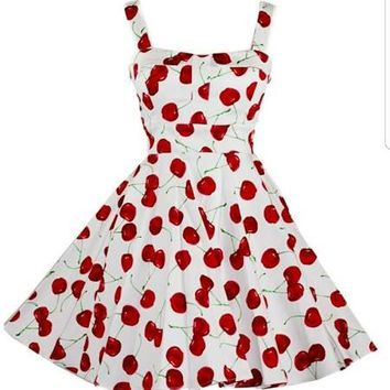 Cherry Printed Rockabilly Dress ( Missy Sized )