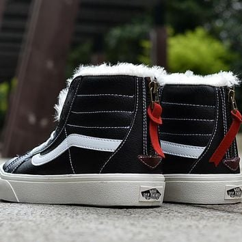PEAPON Vans Black High Top Leather With Fur Warm Casual Zipper Sneakers Sport Shoes