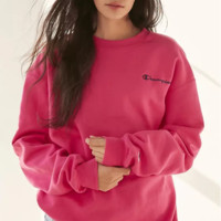 Champion Autumn new ladies round collar pure cotton set head of the letter classic simple style Pink