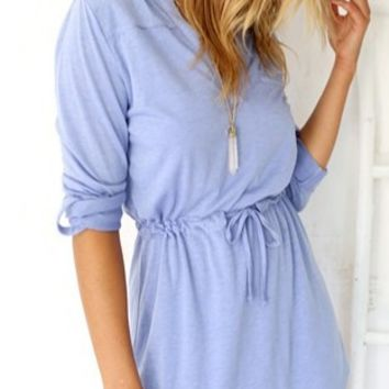 Light-Blue Drawstring Roll up Sleeve Dress