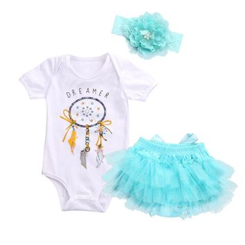 Newborn Baby Girl Dreamcatcher Romper+Tutu Skirt Tulle Outfits Clothes 3pcs Set