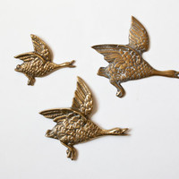Solid Brass Flying Ducks Wall Hanging, Duck Hunting, Flying Birds, Woodland, Set of 3