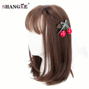 SHANGKE Brown Bob Hair Wigs For  Women Heat Resistant Synthetic Female Wig Natural Looking Hair Pieces 5 Colors Available