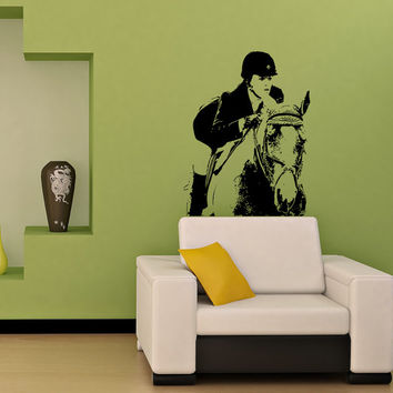 Wall Vinyl Decal The Girl on the Horse, Jockey, Rider, Horse Riding, Art Design Murals Interior Decor Sticker Removable Room Window SS4
