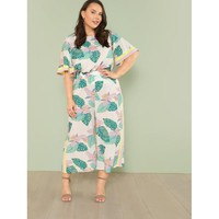 White Striped Panel Tropical Top And Culotte Pants Set
