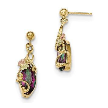 10k Tri-color Black Hills Yellow Gold Mystic Topaz Post Dangle Earrings