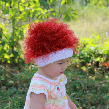 Baby hats / Cabbage Patch Kids Hat  / Beanie Wig  / Children  fuzzy hat  / Baby costume / Halloween Costume / dark red
