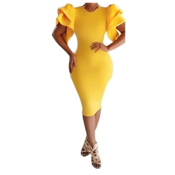 Yellow Bell Sleeve Bodycon Dress