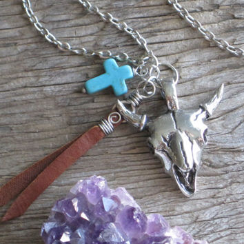 Death Valley Southwest Stainless Steel Cow Skull with Turquoise Cross and Genuine Leather Accent Necklace