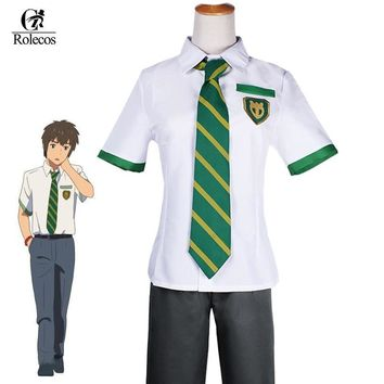 Cool Rolecos Japanese Anime Kimi no Na wa Your Name Tachibana Taki Cosplay Costume Miyamizu Mitsuha Cosplay School Uniform CostumeAT_93_12