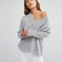 New Look Knitted Oversized V Neck Jumper at asos.com