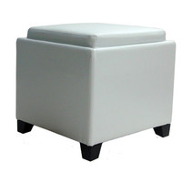 Rainbow Contemporary Storage Ottoman With Tray in White Bonded Leather