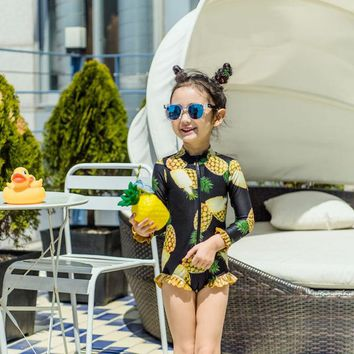 Child Swimwear Girl Children's Kids Swimming Suit Junior Girls Swimsuit 2018 Chaton New Korean Children One Bathing Big