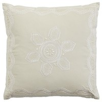 White Embroidered Medallion Pillow