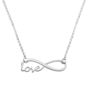 925 Sterling Silver infinity and Love necklace