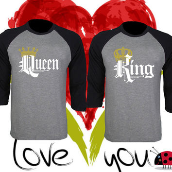 Price For 2 Tees - King and Queen Perfect Matching Love Set Raglan T Shirt Baseball Tee 3/4 Sleeve