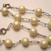 2 Matching Pearl Bead Bracelets Marked Germany Vintage 50s Bracelets Silver and Faux Pearl Beads