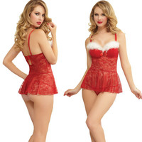 Cute On Sale Hot Deal Sexy White Christmas Red Lace See Through Exotic Lingerie [9327246794]