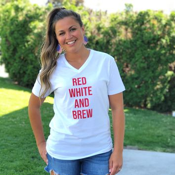 Red White And Brew Vneck Unisex Graphic Tee