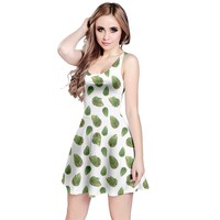Leaves Motif Nature Pattern Reversible Sleeveless Dress