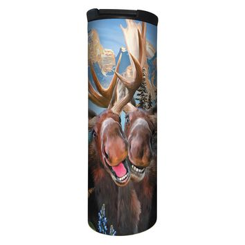 Two Moose Selfie Barista Tumbler Travel Mug - 17 Ounce, Spill Resistant, Stainless Steel & Vacuum Insulated