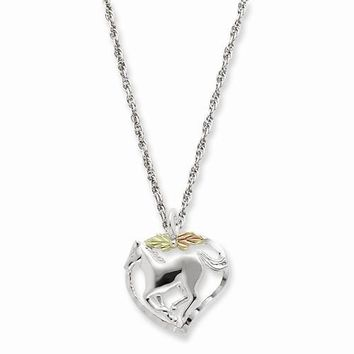 Sterling Silver & 12K Gold Horse Heart Necklace