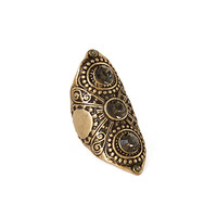 FOREVER 21 Etched Faux Gem Cocktail Ring Gold/Light Grey