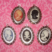 Vintage Silver Locket Cameo Locket Skull Crossbones Gothic Lady Death Sugar Skull Locket Steampunk Necklace Supplies