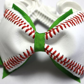 Baseball Hair Bow - Your Choice of Colors, Custom Baseball Bow, Baseball Hair Bow, Sports Hair Bow, Actual Baseball Bow, Custom Hair Bow