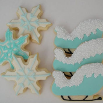 Sleigh and Snowflakes Cookies - Iced Holiday Sugar Cookies