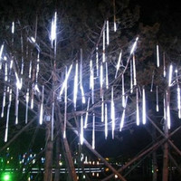 WannaBi 20cm 8 Tubes 80 LED Meteor Light Outdoor Fairy Lights for Decorative Gardens Indoor Tree Christmas Party Wedding Patio-White Color