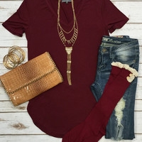 Vicky Basic V Tunic Top: Burgundy
