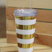 Gold + White Stripe Tumbler {22 oz}