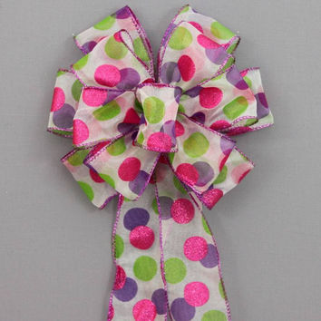 Festive Polka Dot Easter Bow