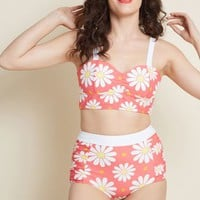Banned Sun More Time High-Waisted Bikini Bottom in Coral