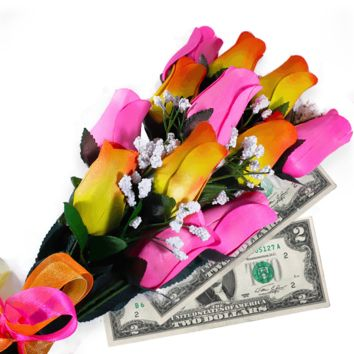 Orange Yellow Ombré & Pink Bouquet | Cash Roses®