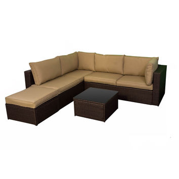 Michael Anthony Four Piece Outdoor Woven Sectional Set multi brown
