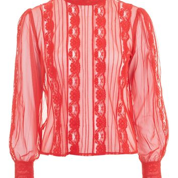 Sheer Pintuck Printed Blouse - New In Fashion - New In