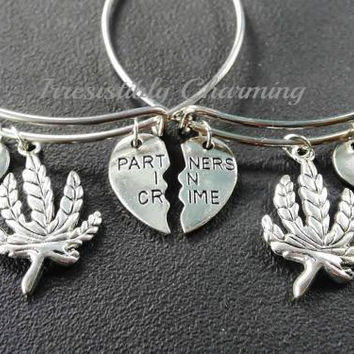 Best buds, partners in crime charm bracelet, silver tone expandable bangles, monogram personalized item No.899