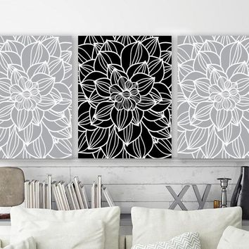 Gray Black Flower Bedroom Pictures Canvas or Prints  Gray Black Bathroom Wall Decor, Flower Living Room Wall Art, Flower Pictures Set of 3