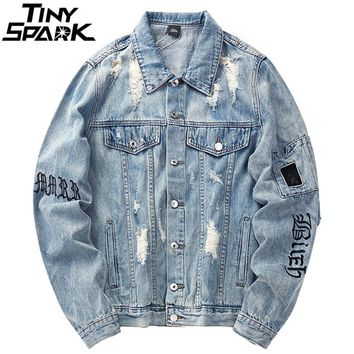 Mens Denim Bomber Jackets Ripped Holes Vintage Gothic Letter Embroidery Short Jacket Jeans Distressed Streetwear Hip Hop 2018