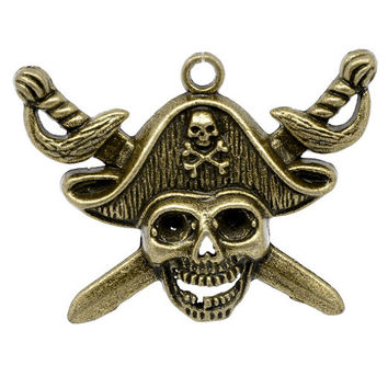 1  Bronze Pirate Skull Charm Pendant Swords Daggers Jolly Roger Large Pendant  118A
