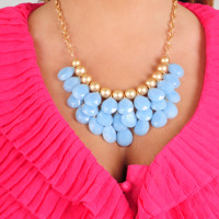 Be A Gem Necklace: Baby Blue
