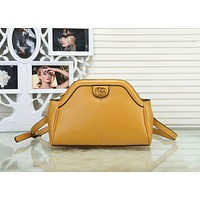 Gucci Trending Women Stylish Pure Color Leather Shoulder Bag Crossbody Satchel Yellow