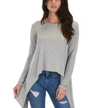 Lyss Loo Shift and Swing Long Sleeve Grey Tunic Top